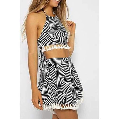 Stylish Halter Stripes Spliced Crop Top and Skirt Women's Suit - White And Black Xl
