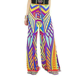 Stylish Elastic Waisted Colored Print Women's Exumas Pants - Yellow S