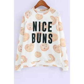 Stylish Round Neck Long Sleeve Cookie Print Women's Sweatshirt - White L