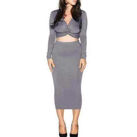 Trendy V-Neck Long Sleeve Front Twist Crop Top and Solid Color Pencil Skirt Women's Suit - Gray M