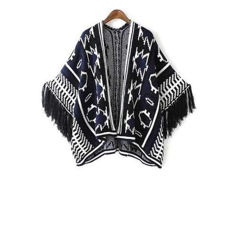 Stylish Open Front Wide Sleeve Jacquard Tassels Spliced Women's Cape Sweater - Blue One Size(fit Size Xs To M)