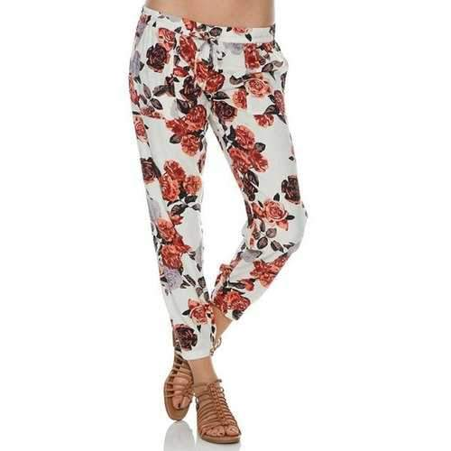 Casual Style Floral Print Tie-Up Pants For Women - White S
