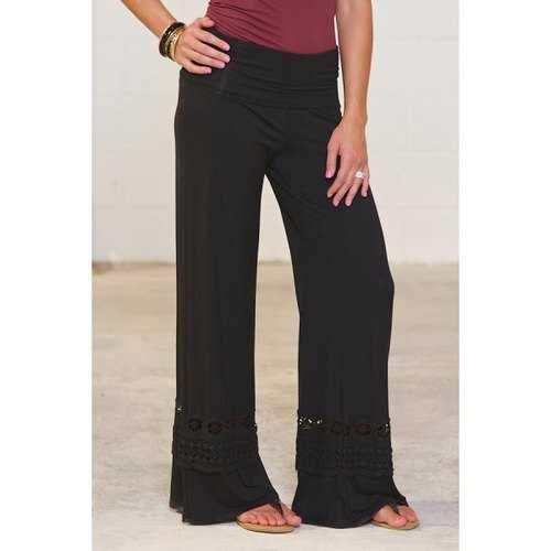 Casual High-Waisted Solid Color Wide Leg Lace Spliced Women's Pants - Black S