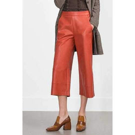 Stylish Orange PU Leather Spliced Women's 3/4 Palazzo Pants - Orange M