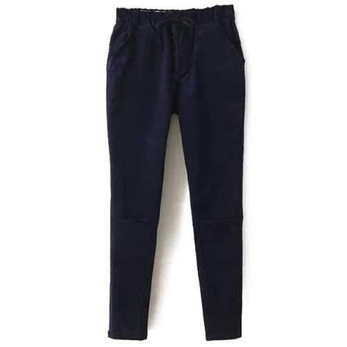 Stylish Solid Color Corduroy Women's Harem Pants - Cadetblue M