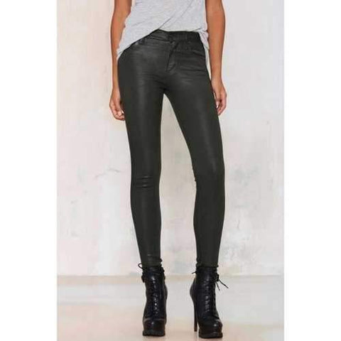 Stylish Mid-Waisted Narrow Feet Black Women's Pencil Pants - Black Xs