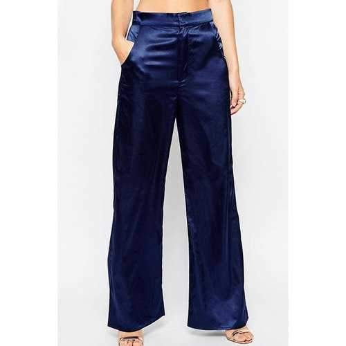 Stylish Solid Color Slimming Casual Women's Palazzo Pants - Blue S
