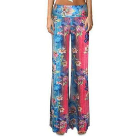 Ethnic Elastic Waist Floral Print Color Block Women's Flare Leg Pants - Xl