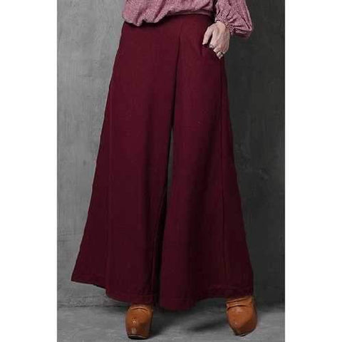 Trendy High-Waisted Wide Leg Pocket Design Women's Wine Red Pants - Wine Red S