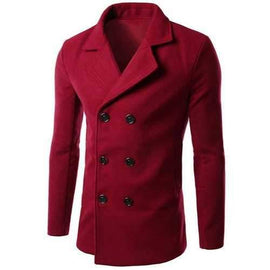 Turn-Down Collar Solid Color Long Sleeve Slimming Woolen Men's Peacoat - Red 3xl