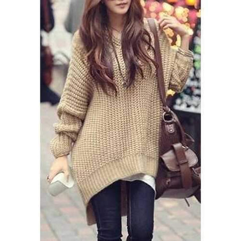 Stylish Hooded Long Sleeve Irregular Hem Women's Oversized Sweater - Khaki One Size(fit Size Xs To M)