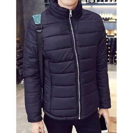 Laconic Stand Collar Zipper Pocket Solid Color Slimming Long Sleeves Men's Cotton Blend Coat - Black 3xl