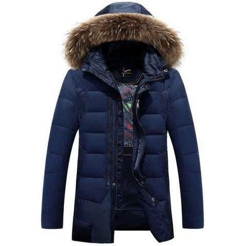 Double Zipper Fabric Spliced Rib Cuffs Slimming Detachable Hooded Long Sleeves Men's Down Coat - Cadetblue Xl