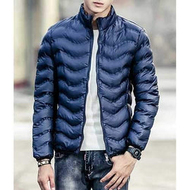 Stand Collar Waviness Long Sleeve Loose-Fitting Men's Cotton-Padded Jacket - Deep Blue Xl