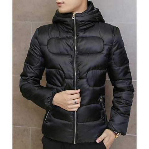 Hooded Long Sleeve Slimming Solid Color Men's Cotton-Padded Jacket - Black 3xl