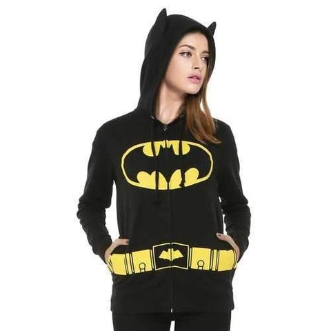 Stylish Hooded Long Sleeve Printed Pocket Design Women's Batman Hoodie - Black M