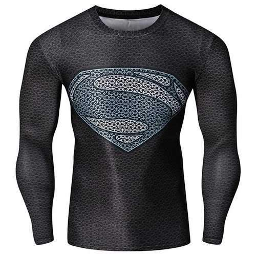 Fashion Round Neck 3D Superman Pattern Skinny Quick-Dry Long Sleeves Men's Superhero T-Shirt - L