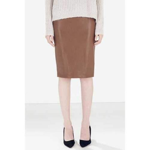 Stylish PU Leather Solid Color Women's Pencil Skirt - Khaki M