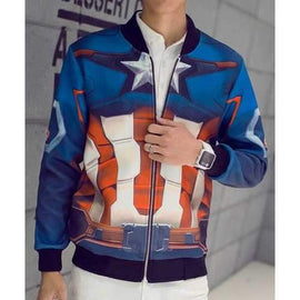 3D Captain America Print Rib Spliced Hit Color Fitted Stand Collar Long Sleeves Men's Vogue Jacket - Blue L