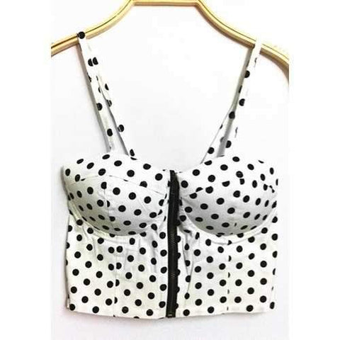 Vintage Strappy Polka Dot Crop Top For Women - White One Size(fit Size Xs To M)