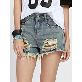 Chic Mid Waist Button Design Denim High Cut Ripped Shorts Women - Ice Blue S