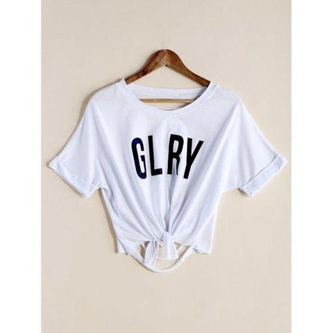 Stylish Scoop Neck Letter Print Ripped Crop Top For Women - White One Size(fit Size Xs To M)