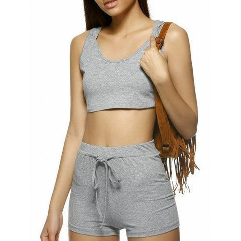Stylish Pure Color Sleeveless Knitting Hooded Twinset For Women - Light Gray Xl
