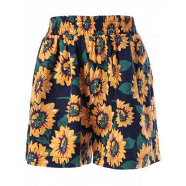 Wide Leg High Waist Floral Shorts - Xl