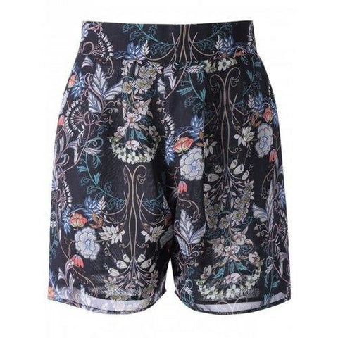 High Waisted Floral Knee Length Shorts - Black S