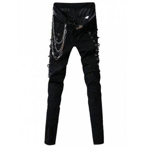 Crisscross String Design Zipper Fly Narrow Feet Pants For Men - Black 33
