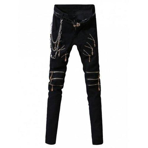 Zip-Up Embellished Design Zipper Fly Narrow Feet Pants For Men - Black 31