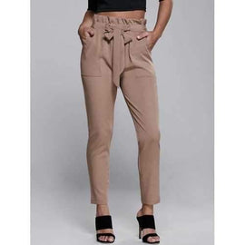High Waisted Belted Slimming Narrow Feet Pants - Khaki L