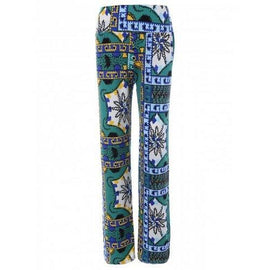 Tribal Print Mid-Waist Exumas Pants - Green Xl