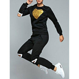 Heart Sweatshirt and Cut Out Jogger Pants - Black S