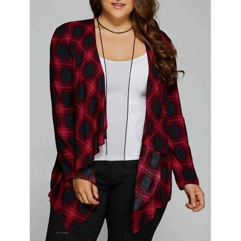 Plus Size Asymmetrical Plaid Cardigan - Checked Xl
