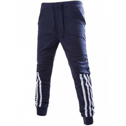 Stripe Spliced Beam Feet Jogger Pants - Cadetblue L