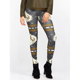 Christmas Ornate Print Slim Leggings - L