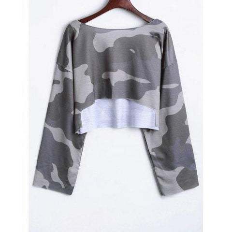 Camouflage Drop Shoulder Crop Top - Gray One Size