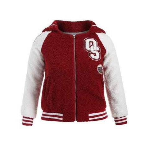 Plus Size Appliques Fleece Baseball Jacket - Burgundy 2xl