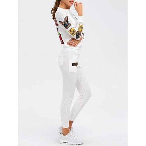 Patch Design Embroidered Sporty Suit - White M