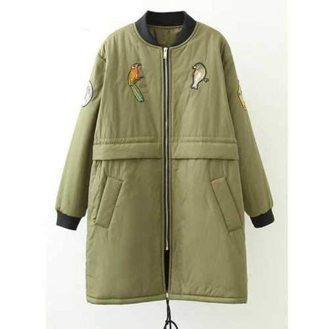 Plus Size Bird Letter Patched Bomber Coat - Army Green Xl