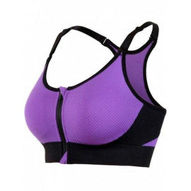 Zipper Front Strappy Racerback Sports Bra - Purple M