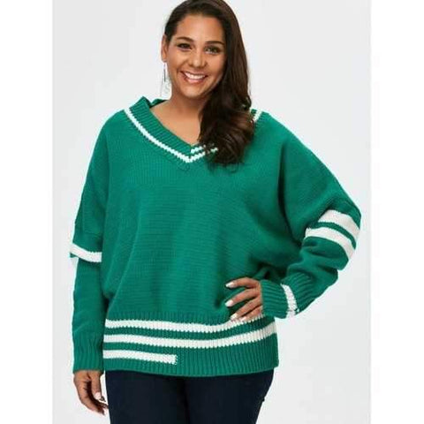 Plus Size V Neck Cricket Striped Sweater - Green 5xl
