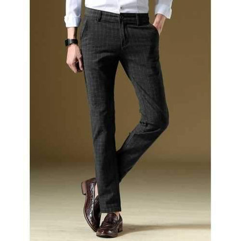 Slim Fit Straight Zip Fly Plaid Pants - Black 30