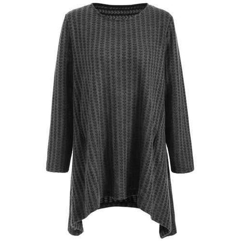 Plus Size Asymmetrical Pullover Sweater - Deep Gray 2xl