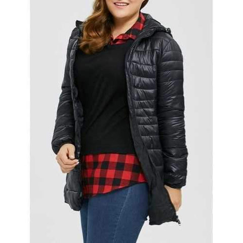 Hooded Plus Size Quilted Jacket - Black 2xl