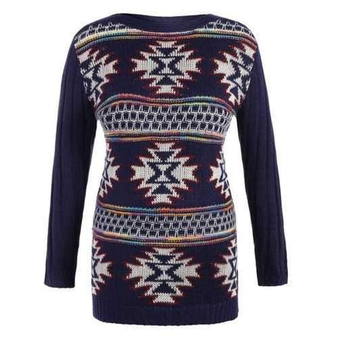 Geometrical Graphic Plus Size Pullover Ribbed Sweater - Purplish Blue 3xl
