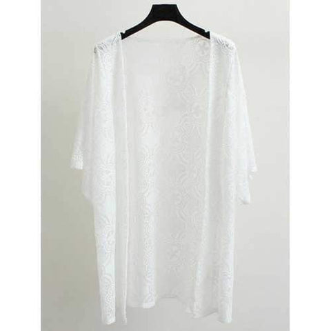 Open Front Lace Coat - White 4xl