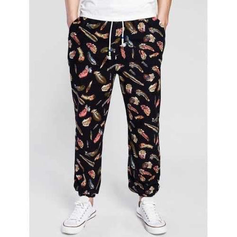Drawstring 3D Feather Print Cotton Linen Jogger Pants - Black L