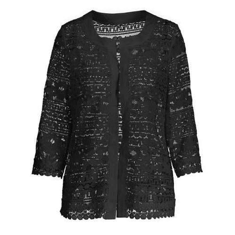 Plus Size Short Sheer Lace Jacket - Black 2xl